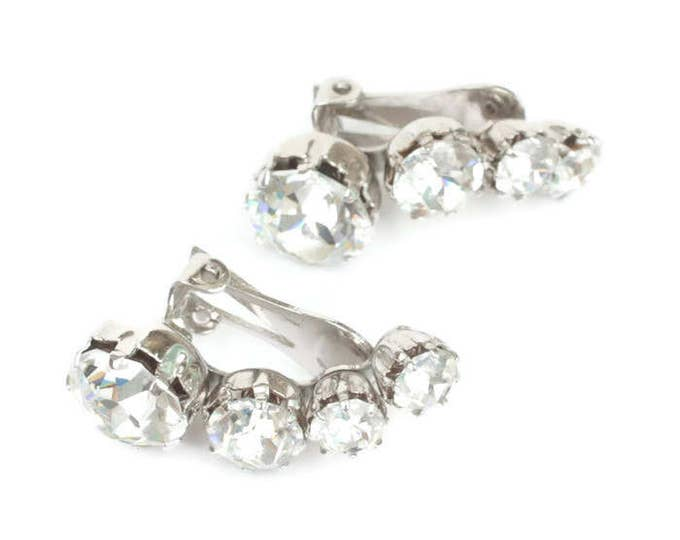Kramer Clear Rhinestone Earrings Large Headlight Ear Climbers Vintage