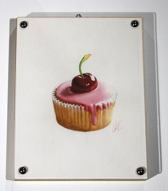 """Cupcake Print of watercolor painting, """"Cherry on Top"""" Framed"""