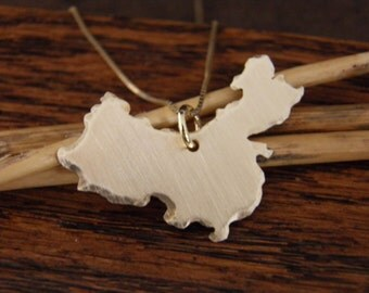 CHINA  Necklace, Gold Africa Pendant , Custom Made -ALL Countries Available