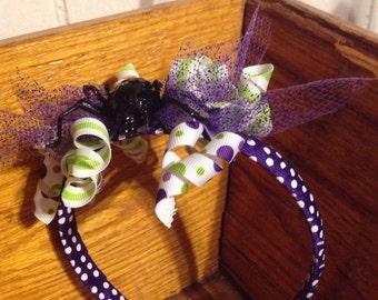 SALE! Black glittery spider on purple w/ white polka dots headband - korky ribbons, glitter spiders - polka dots - halloween costume cute