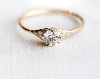 Lady's Slipper Diamond Engagement Ring // Delicate Diamond Ring with Side Diamonds / 14k Yellow Gold Half Carat Diamond Ring / Delicate Ring