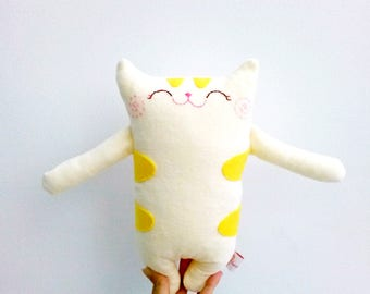 Stuffed cat, stuffed animal, plush animals, plush cat, plush baby doll, plushie, plush toy, yellow cat softie, baby shower gift, toddler toy