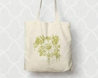 Garden Tote Bag Cotton Canvas Market Tote  Moss Green or Pink Shopping Bag Floral Gardener Gift