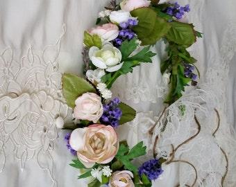 Greenery flower crown Ivory blush hair wreath Bridal halo veil 2017 Pantone green foliage wedding headpiece peach lavender accessories