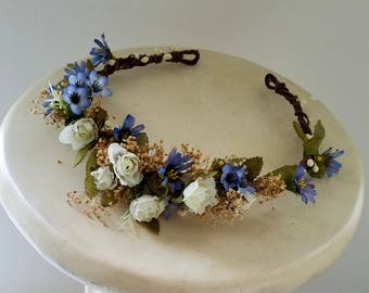 Boho Bridal halo blue white dried flower crown hair wreath accessory Wedding Babys breath wildflowers Summer Woodland headpiece
