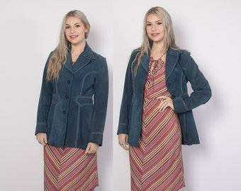Vintage 70s Leather JACKET / 1970s Cadet Blue Suede Fitted Boho Coat