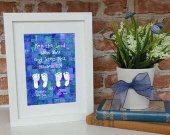 Framed Baptism Gift Twins Baby Nursery Boy or Girl Scripture Print