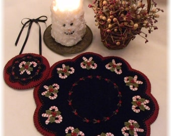 Christmas Candy Penny Rug/Candle Mat with Mini Mat MAILED PAPER PATTERN