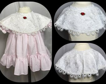 Little Girl's White Lacy Detachable Collar with Red Rosette Detail