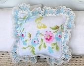 1:12 Pillow - English Garden + Lace + Silk Bow - Scale Miniature Dollhouse - Romantic Shabby Cottage **Free Shipping**