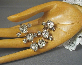 Kramer Crystal Hearts Dangle Clip Earrings