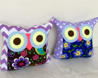 TWO/Polyfil Stuffed little owl pillows/purple/ decoration/collection - Ready to ship
