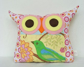 Large size Green Owl pillow /Pink/  home decor /living room decoration/ owl decoration/express shipping