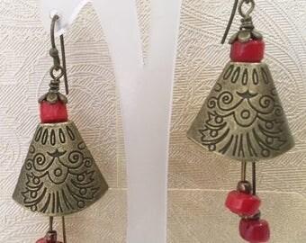 Brass bell earrings