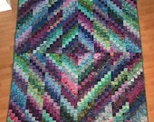 Batik Bargello Trip Around the World Lap Quilt