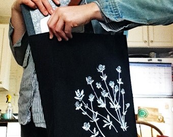 Home made limited edition screen printed up-cycle thistle tote bag