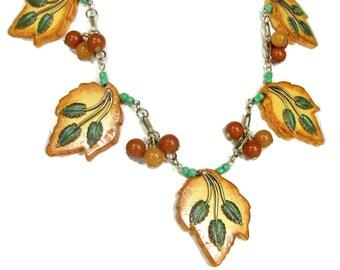 Crystal Sands Designs AUTUMN SPLENDOR Necklace Vtg Bakelite Leaves OOAK Artisan