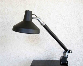 Vintage Vemcolite Industrial Workbench or Drafting Table Lamp in Black. Dual Bulb. Circa 1960's - 1970's.