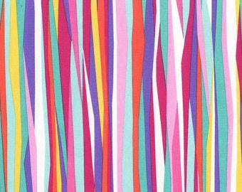 Michael Miller Fabric Mer-Mates Collection Current Stripe in Tropical, Choose your cut