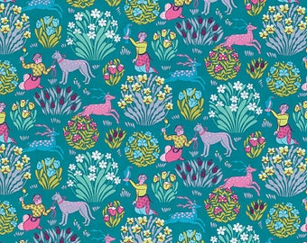 Amy Butler Fabric Splendor Collection Forest Friends in color River, Choose your cut