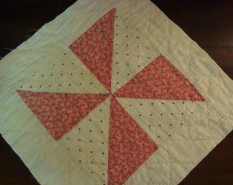 Antique 1930 Pinwheel Quilt Block ~ Use for Fabric Art or Prim Crafts
