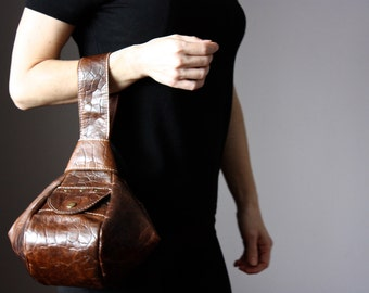 Rustic leather clutch, brown leather wristlet, denim chic style, modern Japanese knot bag,  casual purse bag, VitalTemptation