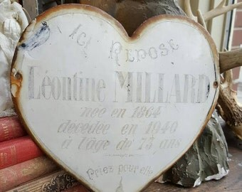 French Antique 1864 Aged Enamel Heart Grave Memorial Plaque from Rustysecrets