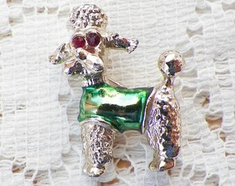 Vintage Silver Tone Metal Poodle / Dog / Puppy with Green Coat and Red Rhinestone Eyes Pin / Brooch / Broach, Gerry's / Gerrys