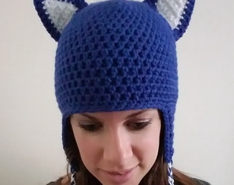 Cat Hat, Crochet, Blue and White