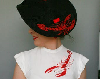 Lobster Hat  - Black Sun Hat with glitter lobster - Tie on Straw Travel hat - summer hat - wide brimmed hat
