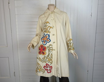 60s Psychedelic Raincoat in Ivory & Hippie Flowers- 1960s Trench Coat- Small- Floral Print- Big Collar Jacket