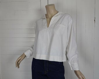 Antique Sailor Shirt- White Cotton Middy Blouse- Military / Navy Uniform - Extra Small