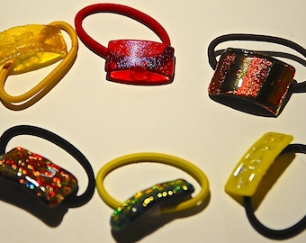 Handmade Dichroic Glass Six Ponytail Holders.
