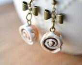 Scented Cinnamon Roll Earrings-Antique Bronze-Miniature Food Jewelry
