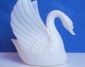 "Swan Cake Topper Miniature Wedding Decoration 4 1/4"" tall"