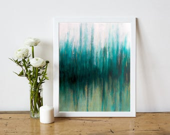 Minimalist Abstract Art - Abstract Art Print - Abstract Printable Art - Modern Home Decor - Instant Download - teal white gold - 8x10 11x14
