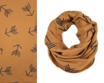 Tribal Arrow Infinity Scarf - Hand Printed Sweatshirt Fleece Circle Scarf in Rust Brown and Black Q
