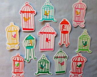 5 Fabric Iron On Bird Cage Appliques