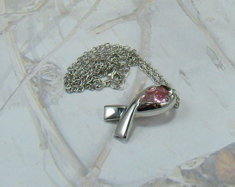 Vintage Simon Chang Necklace Signed Breast Cancer Wear a Pink Ribbon Beautiful Pink Stone Plus a Bonus :)