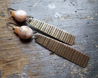 Golden Bronze, Pink Peruvian Opal & Peach Agate Dangle Earrings, Textural Modern Urban Primitive Ethnic Tribal Earrings Spring Summer OOAK