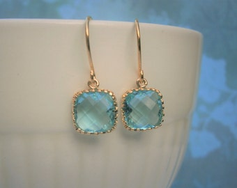 Aquamarine Earrings, Blue Earrings, Petite Earrings, Gold Earrings, Best Friend Gift, Mom Gift, Wife Gift