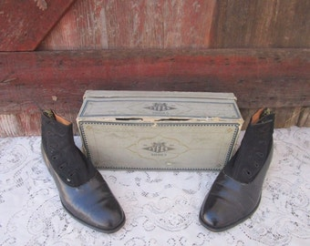 Antique Edwardian Men's Button Leather Ankle Boot Shoe Formal Black Leather Dack's Canada