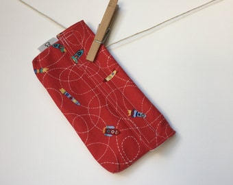 Reusable eco friendly washable Snack Bag - rockets on red