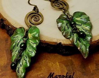 Painted Leaf Earrings Hand Painted Vintaj Brass Green Yellow Forest Green Pearl Drop Earrings