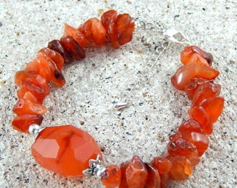 Christmas Sale Gemstone Bracelet - Orange Carnelian Statement Silver Bracelet, uncut rough gem, gemstone chip bracelet