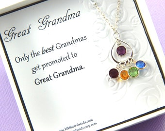 Great Grandma Gift, Personalized Grandma Necklace, Great Grandma Birthstone Necklace, Choose Your Birthstones