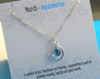 Mothers Day Sale March Birthstone Necklace, Personalized infinity necklace, Aquamarine, birthstone jewelry, gift boxed necklace