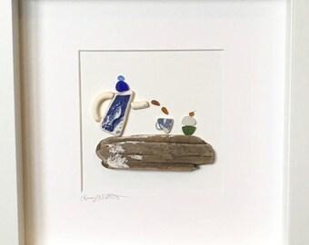 Irish Sea Glass, Sea Pottery and Driftwood Wall Art - Time for Tea and Cake