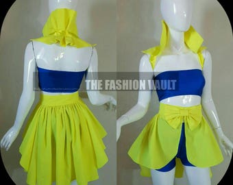 Neon Bustle skirt and shoulder collar wrap Steampunk Cosplay Burlesque Rave