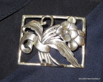 Flower Sterling Silver Brooch Pin 925 22g